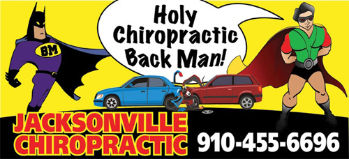 Batman and Robin saving car accident victims with chiropractic care.